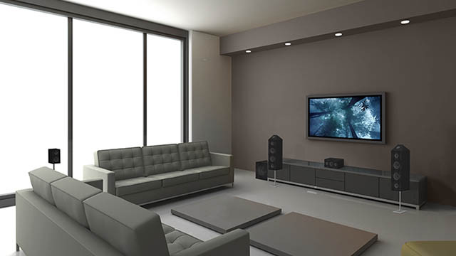 wall mounted television with wall mounted speakers